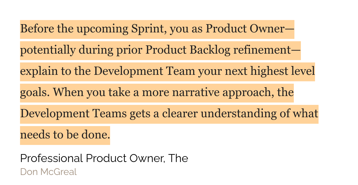 Quote from The Professional Product Owner Book